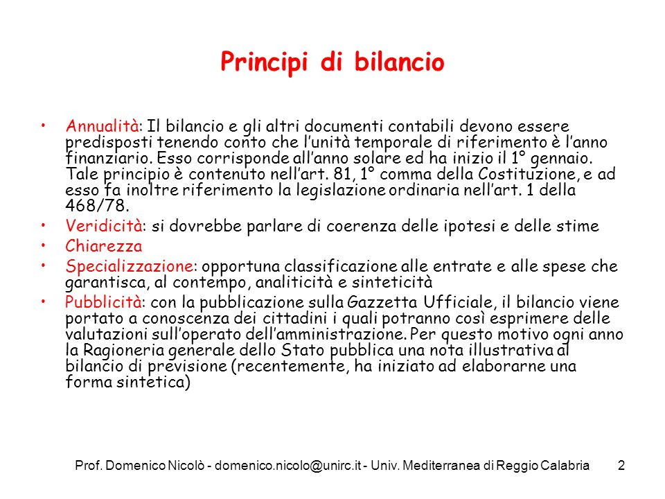 Principi di bilancio