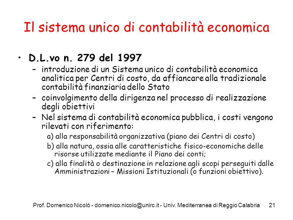 Il sistema unico di contabilità economica