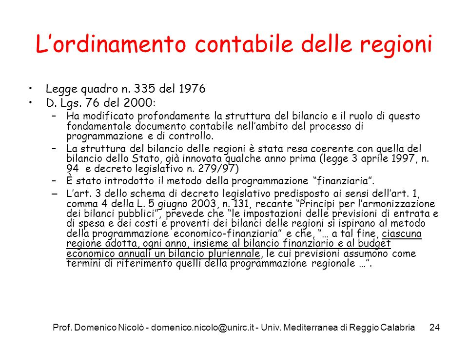 L'ordinamento contabile delle regioni