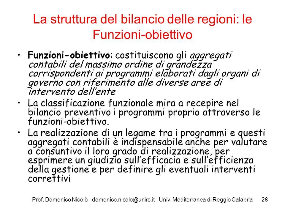 La struttura del bilancio delle regioni: le Funzioni-obiettivo