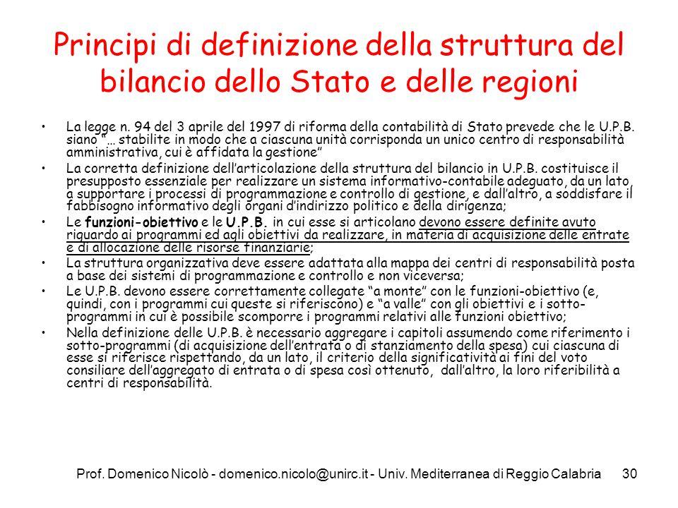 Principi di definizione della struttura del bilancio dello Stato e delle regioni