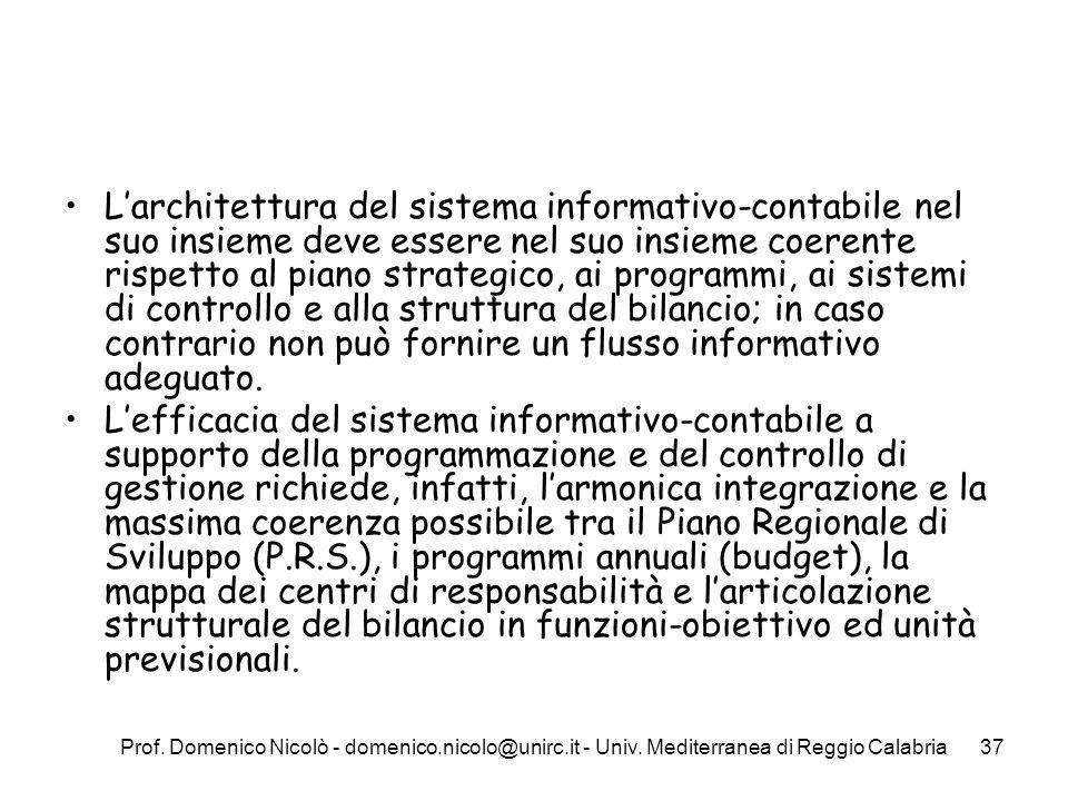 L'architettura del sistema informativo-contabile nel suo insieme deve essere nel suo insieme coerente rispetto al piano strategico, ai programmi, ai sistemi di controllo e alla struttura del bilancio; in caso contrario non può fornire un flusso informativo adeguato.