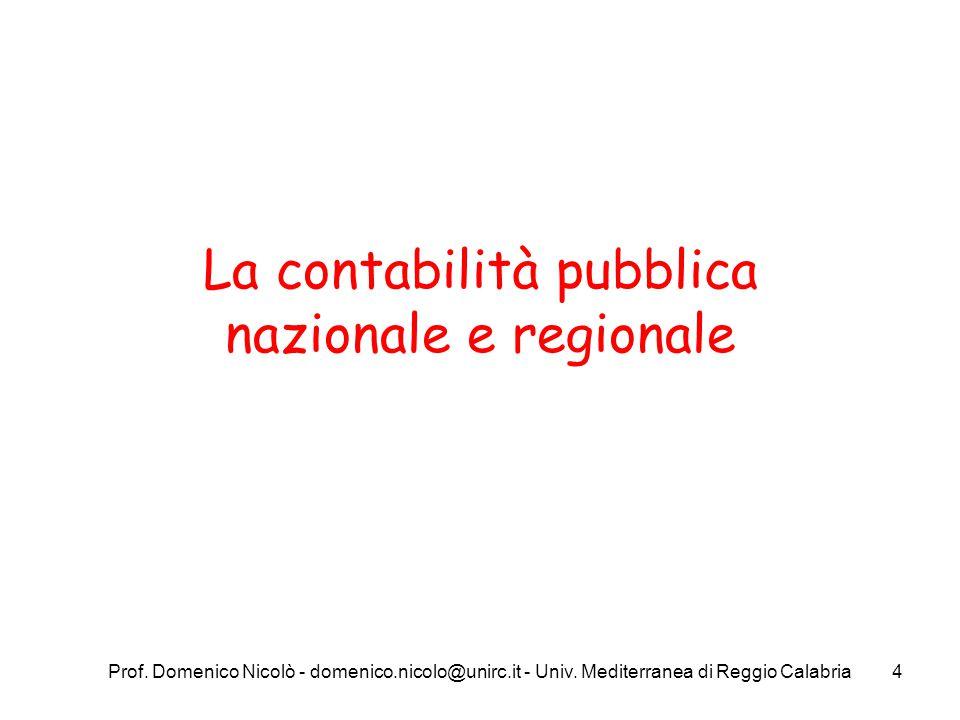 La contabilità pubblica nazionale e regionale