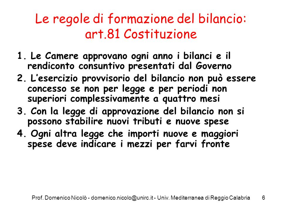 Le regole di formazione del bilancio: art.81 Costituzione