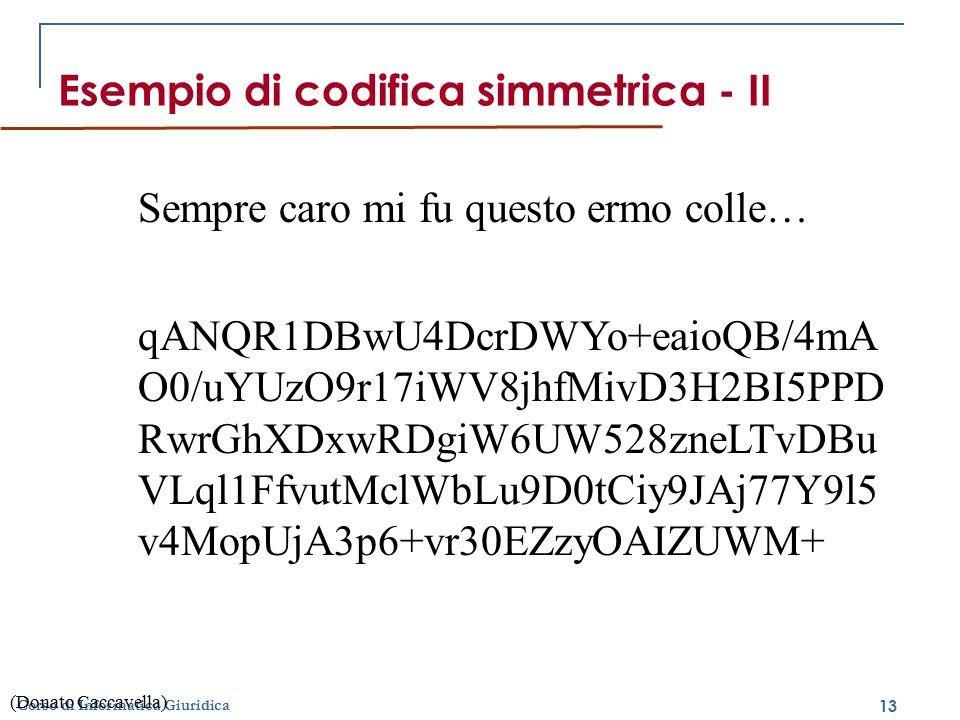 Esempio di codifica simmetrica - II