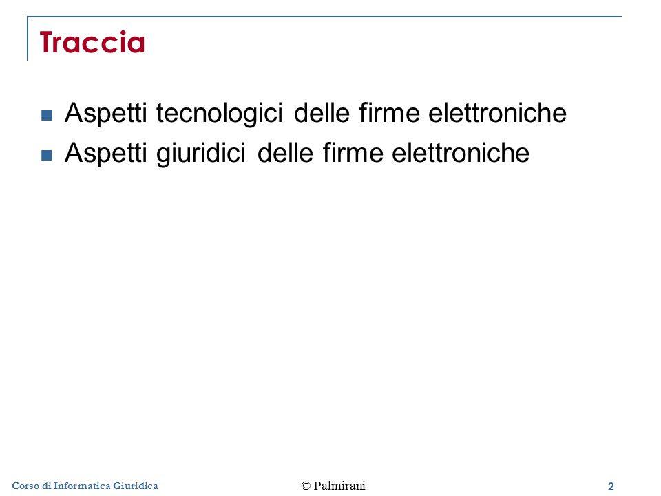 Traccia Aspetti tecnologici delle firme elettroniche