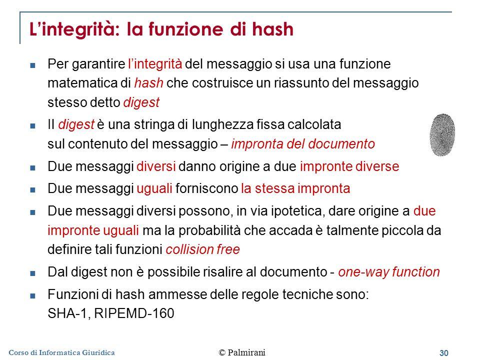 L'integrità: la funzione di hash