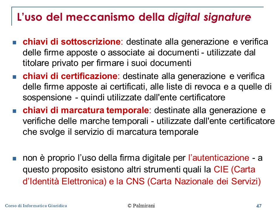L'uso del meccanismo della digital signature