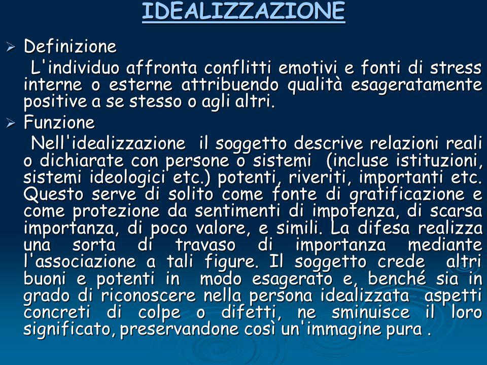 IDEALIZZAZIONE Definizione