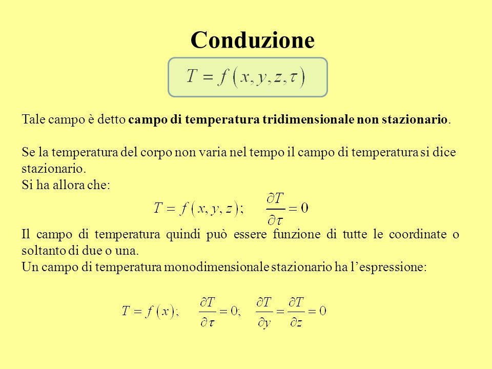 Conduzione Tale campo è detto campo di temperatura tridimensionale non stazionario.