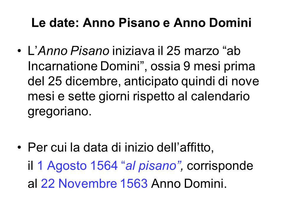 Le date: Anno Pisano e Anno Domini