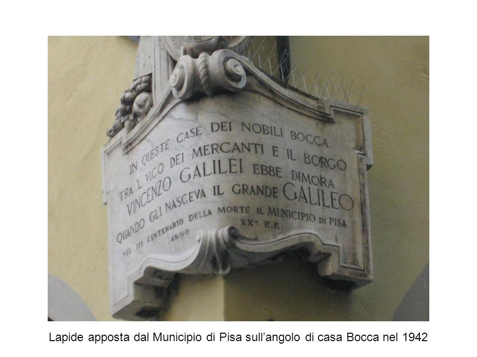 Lapide apposta dal Municipio di Pisa sull'angolo di casa Bocca nel 1942