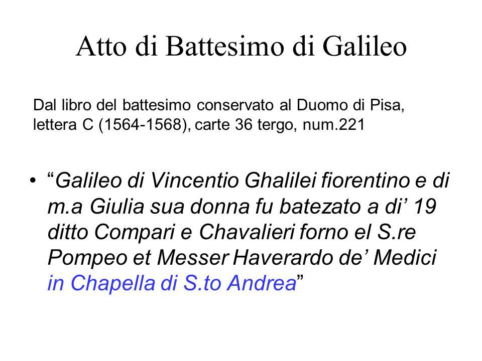 Atto di Battesimo di Galileo