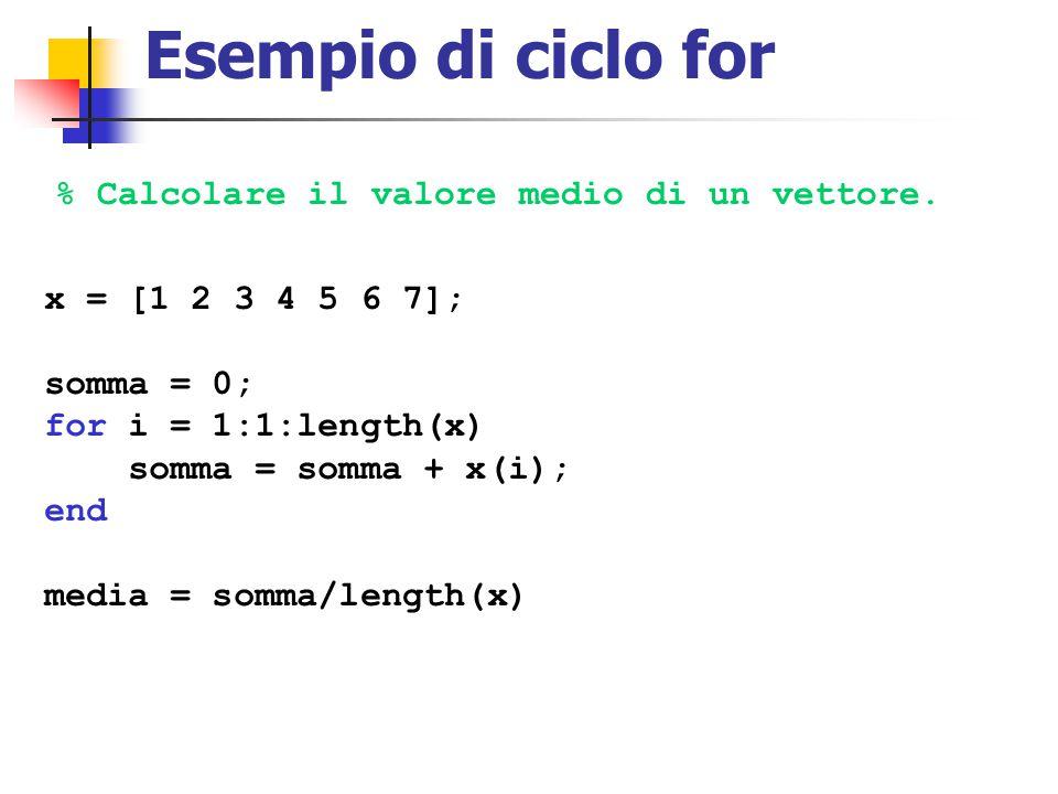 Esempio di ciclo for % Calcolare il valore medio di un vettore.