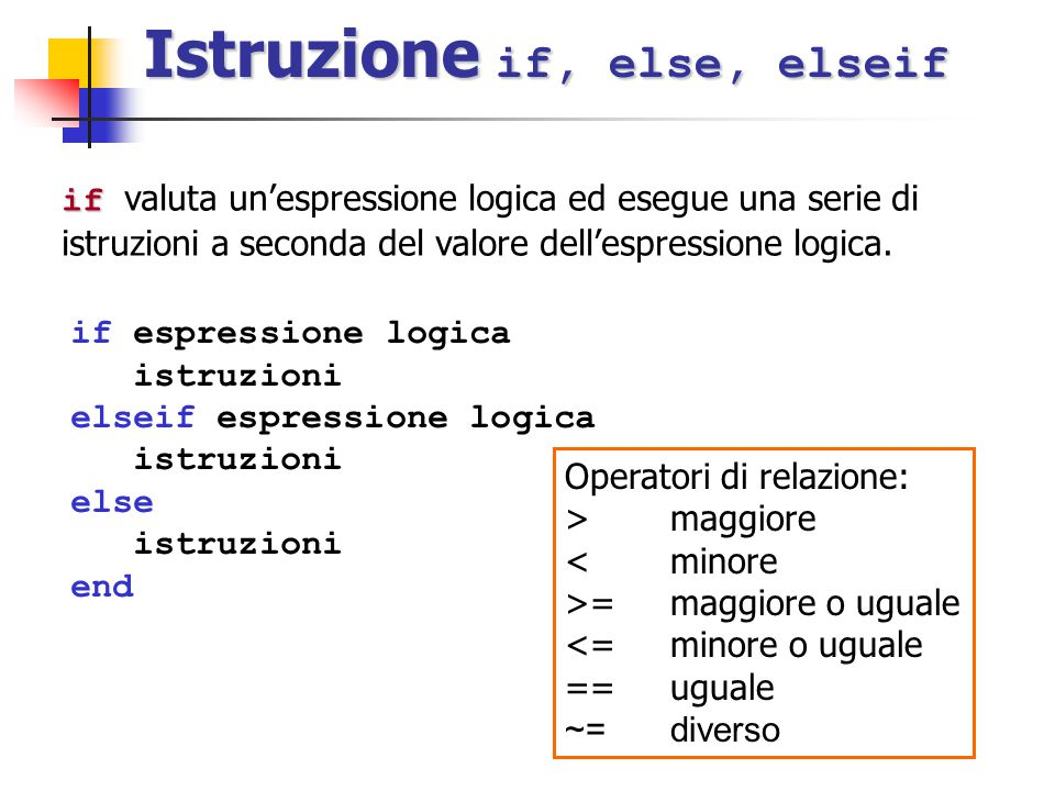 Istruzione if, else, elseif