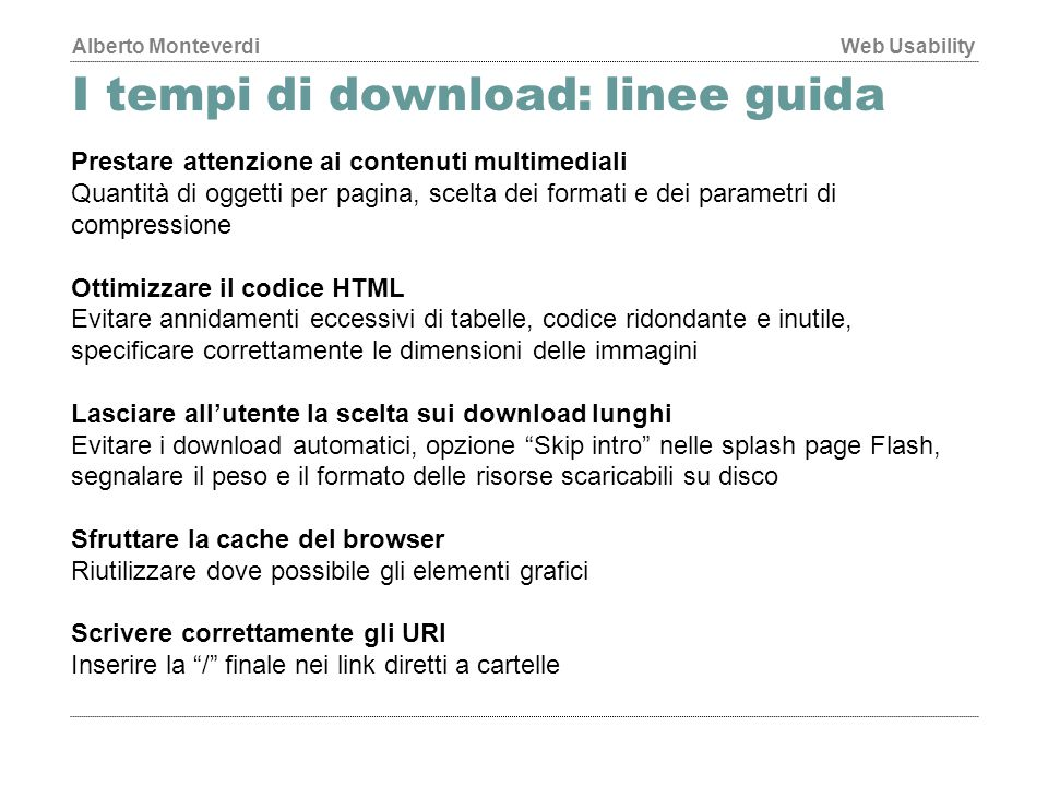 I tempi di download: linee guida