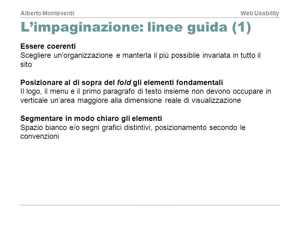 L'impaginazione: linee guida (1)