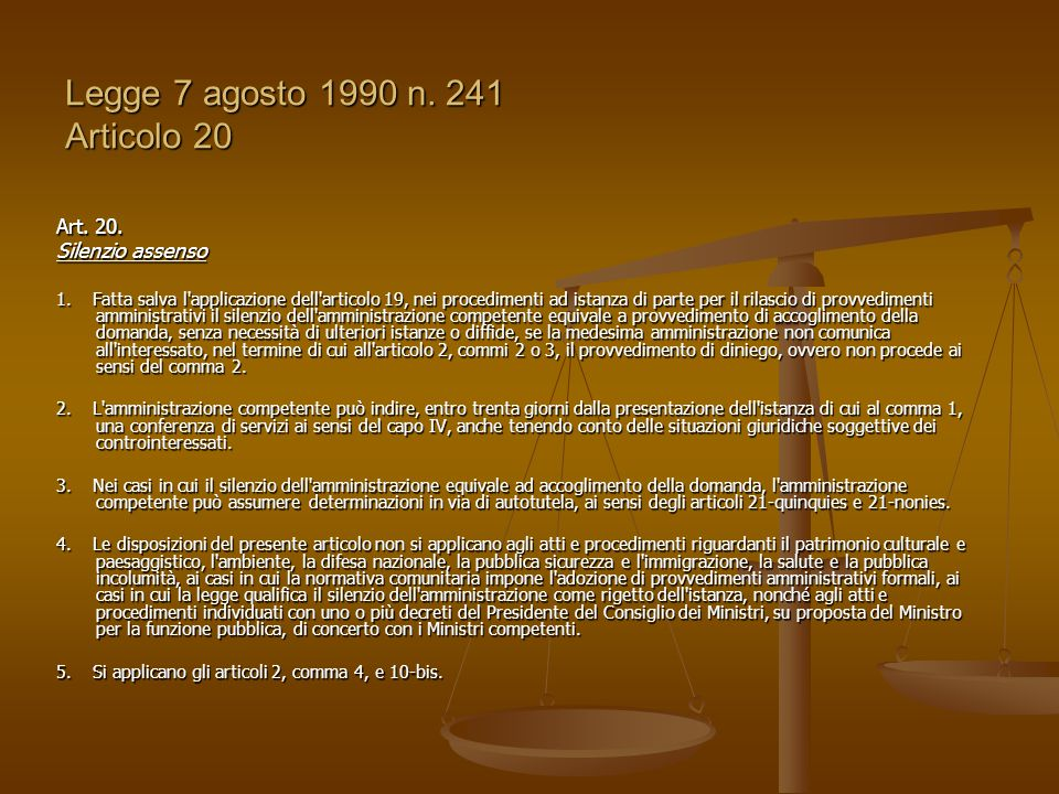 Legge 7 agosto 1990 n. 241 Articolo 20