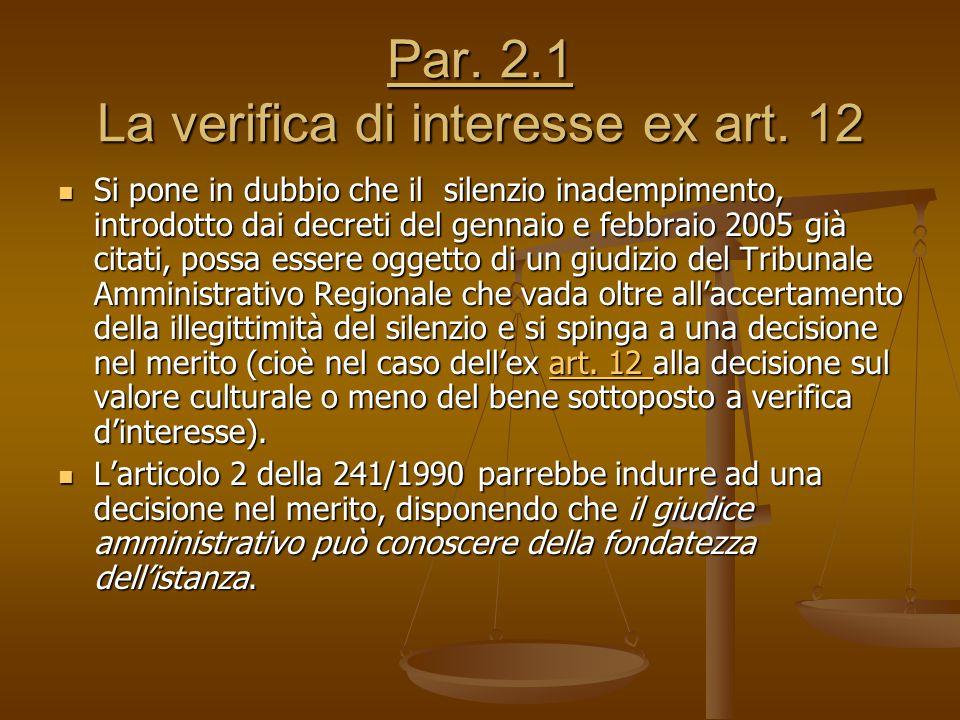 Par. 2.1 La verifica di interesse ex art. 12