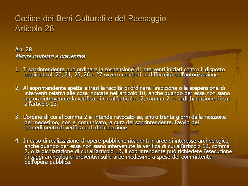 Codice dei Beni Culturali e del Paesaggio Articolo 28