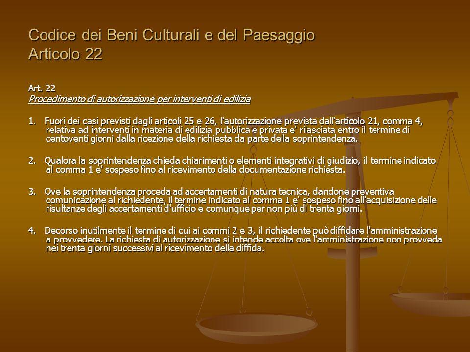 Codice dei Beni Culturali e del Paesaggio Articolo 22