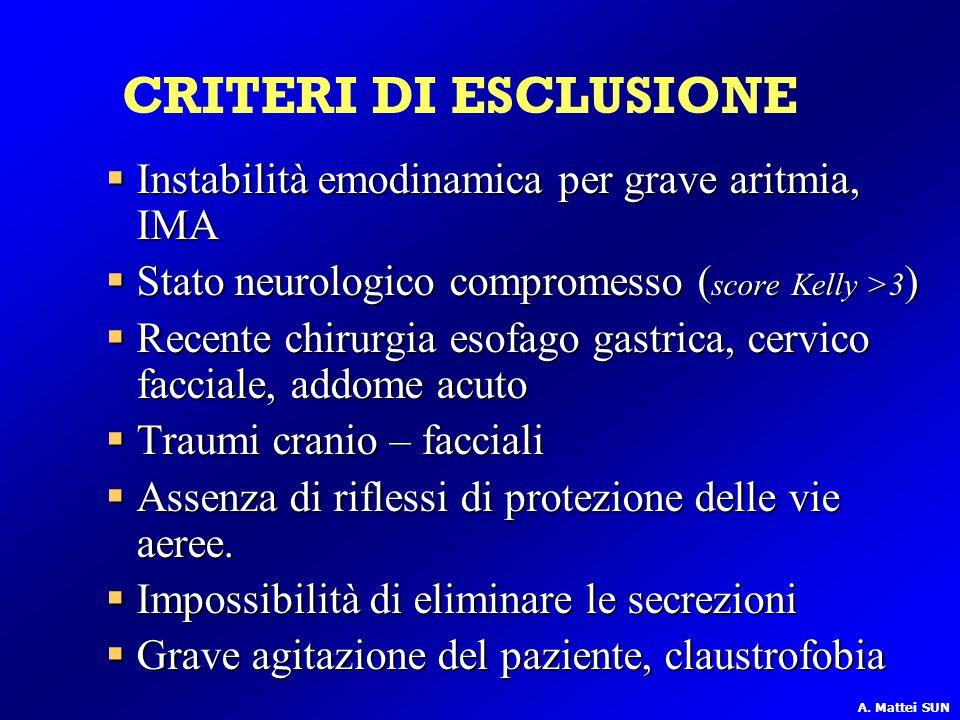 CRITERI DI ESCLUSIONE Instabilità emodinamica per grave aritmia, IMA