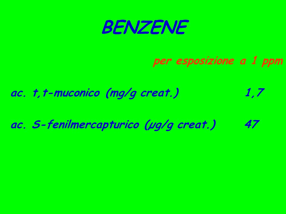 BENZENE per esposizione a 1 ppm ac. t,t-muconico (mg/g creat.) 1,7