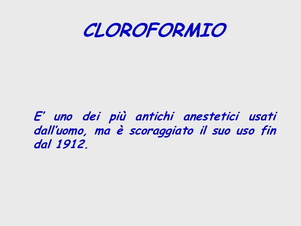 CLOROFORMIO E' uno dei più antichi anestetici usati dall'uomo, ma è scoraggiato il suo uso fin dal 1912.