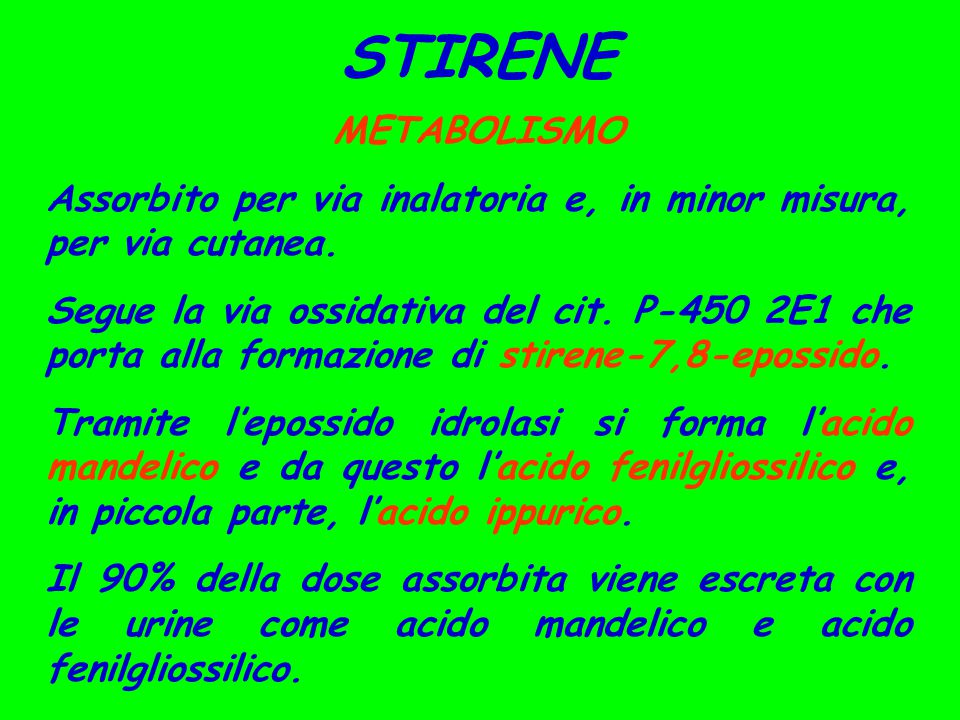 STIRENE METABOLISMO. Assorbito per via inalatoria e, in minor misura, per via cutanea.