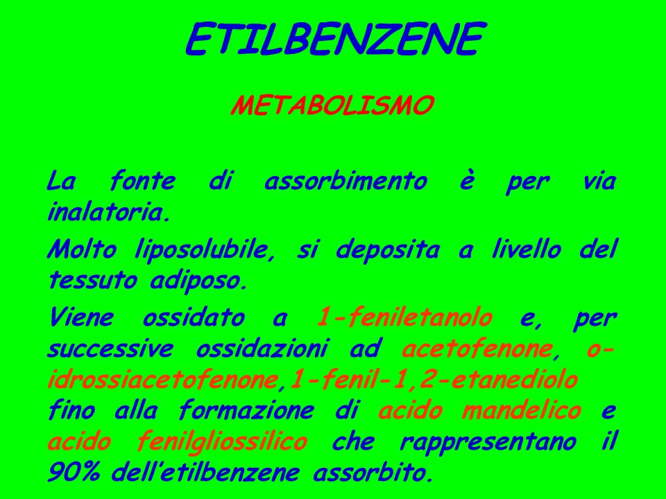 ETILBENZENE METABOLISMO La fonte di assorbimento è per via inalatoria.