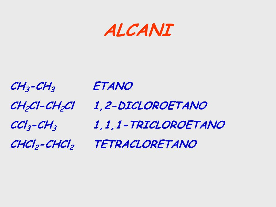 ALCANI CH3-CH3 ETANO CH2Cl-CH2Cl 1,2-DICLOROETANO