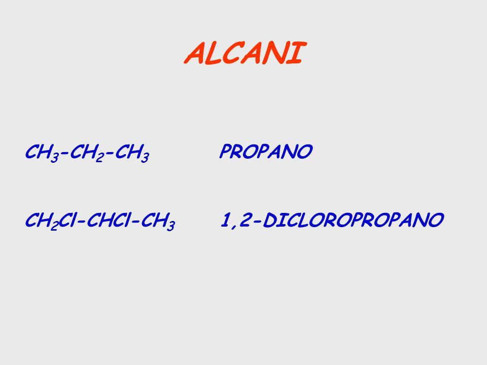 ALCANI CH3-CH2-CH3 PROPANO CH2Cl-CHCl-CH3 1,2-DICLOROPROPANO