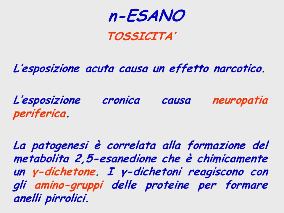 n-ESANO TOSSICITA' L'esposizione acuta causa un effetto narcotico.