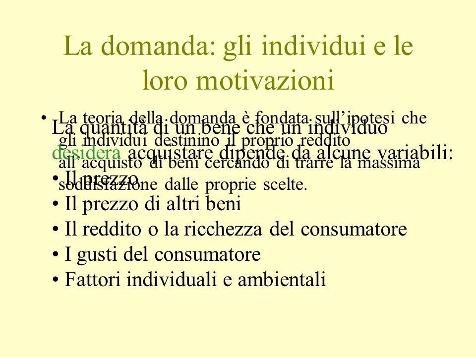 La domanda: gli individui e le loro motivazioni