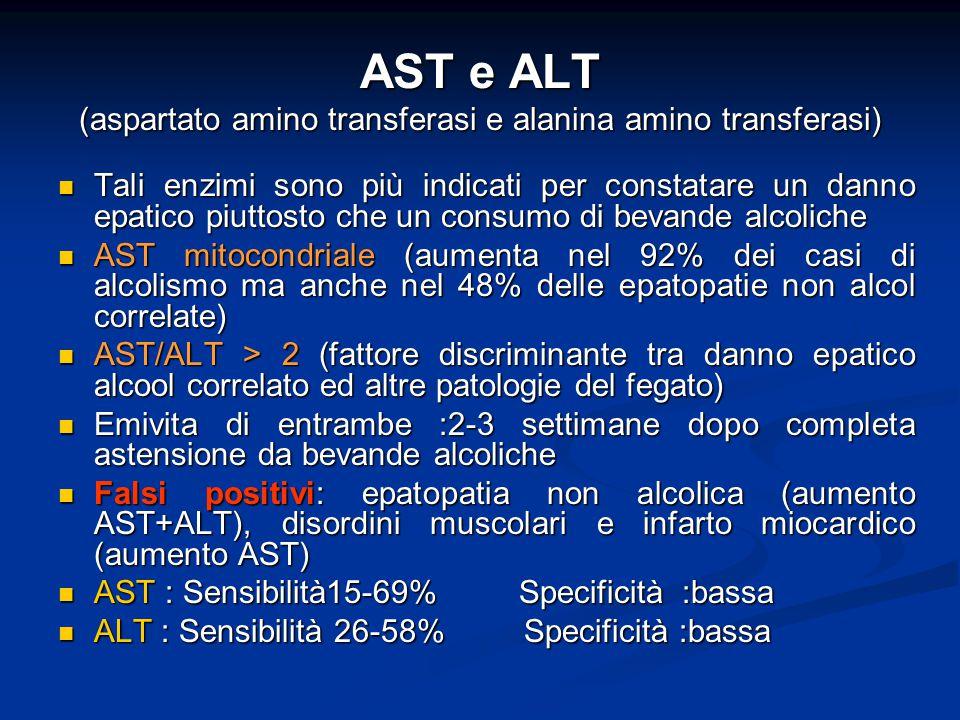 AST e ALT (aspartato amino transferasi e alanina amino transferasi)