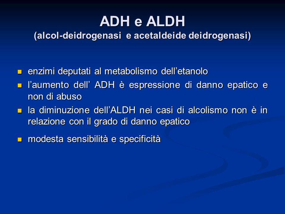 ADH e ALDH (alcol-deidrogenasi e acetaldeide deidrogenasi)