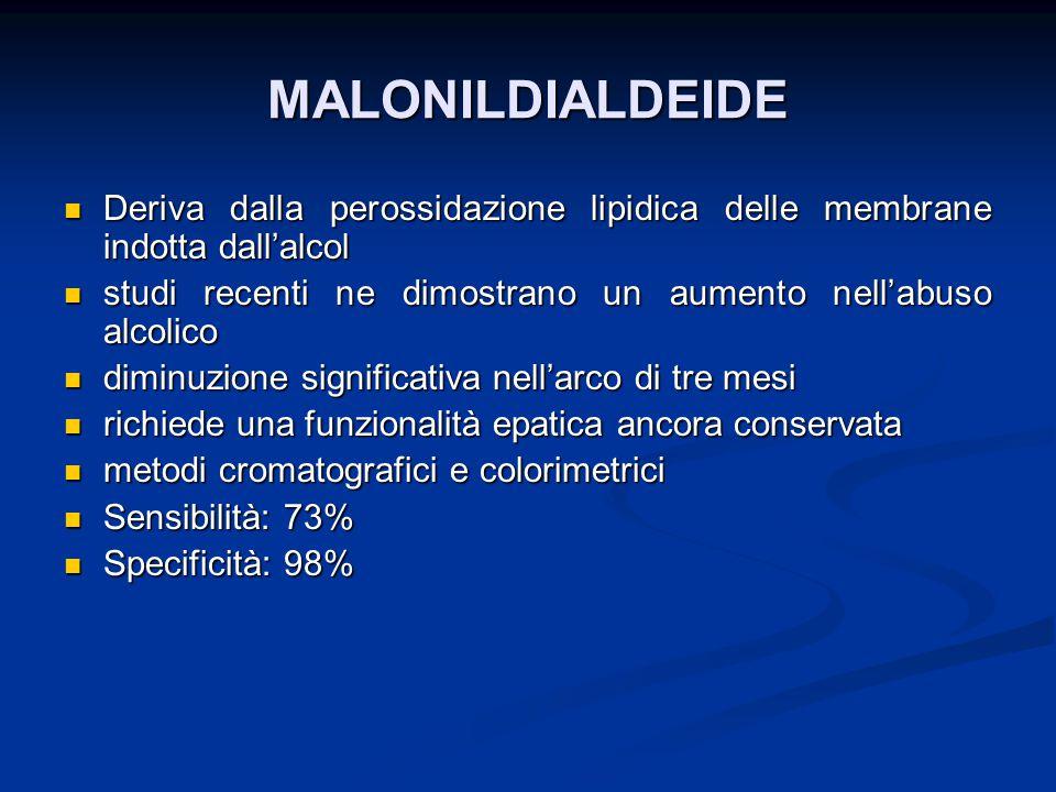 MALONILDIALDEIDE Deriva dalla perossidazione lipidica delle membrane indotta dall'alcol. studi recenti ne dimostrano un aumento nell'abuso alcolico.