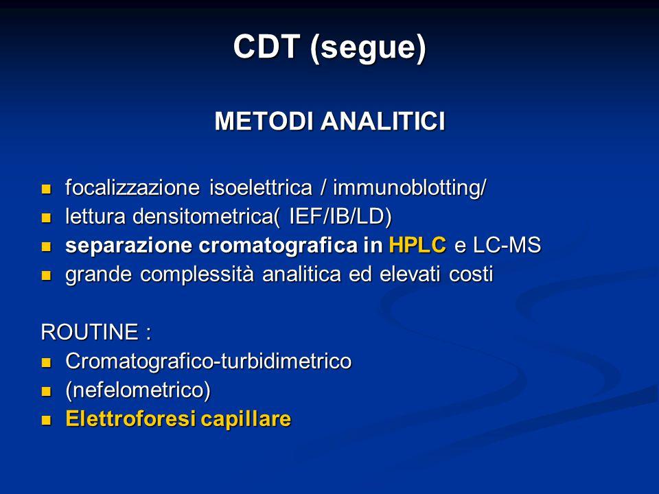 CDT (segue) METODI ANALITICI