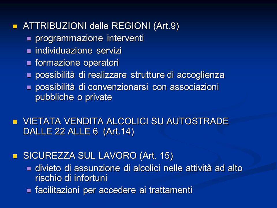 ATTRIBUZIONI delle REGIONI (Art.9)