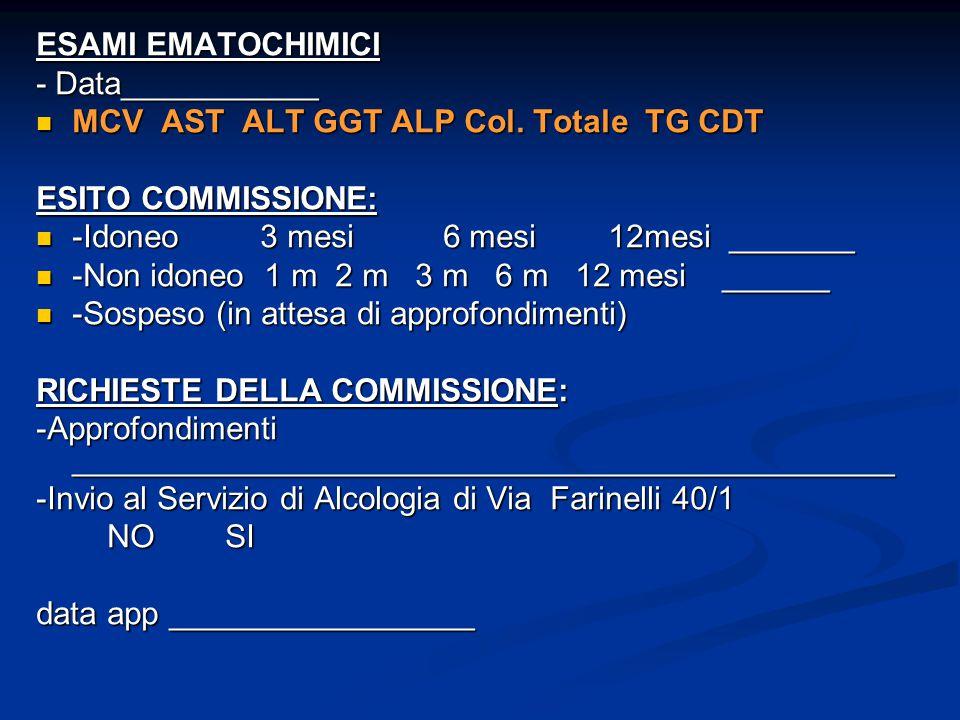 ESAMI EMATOCHIMICI - Data___________. MCV AST ALT GGT ALP Col. Totale TG CDT. ESITO COMMISSIONE:
