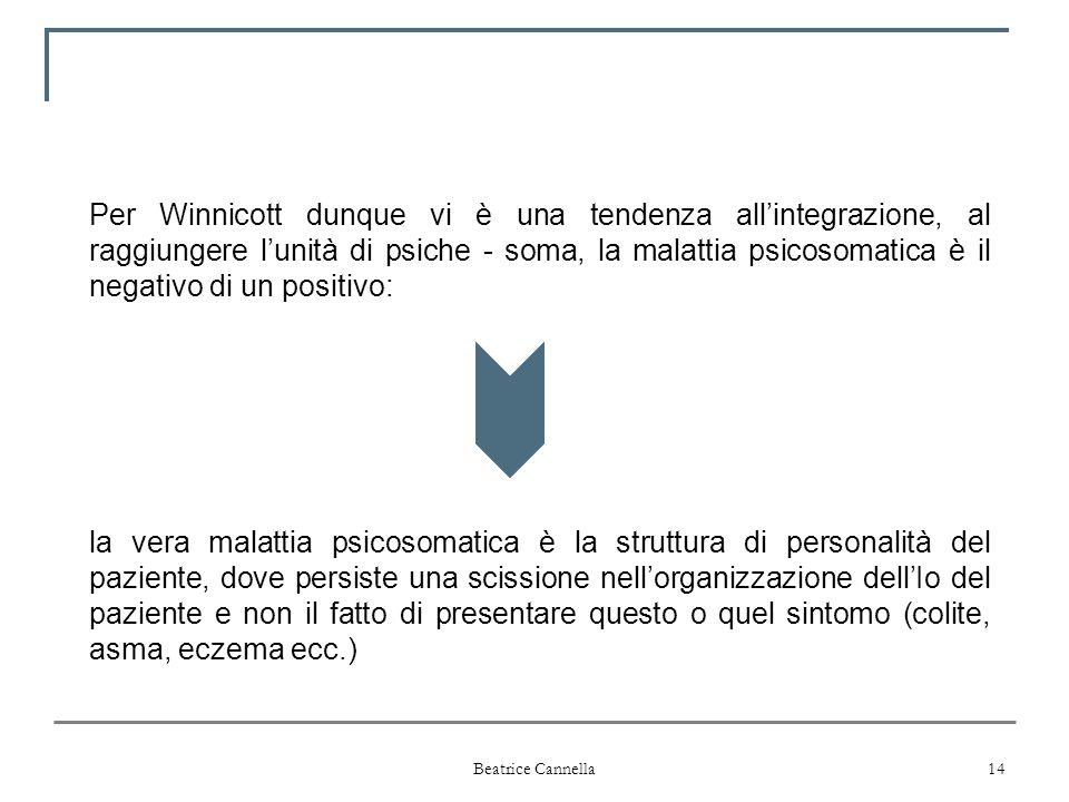 Per Winnicott dunque vi è una tendenza all'integrazione, al raggiungere l'unità di psiche - soma, la malattia psicosomatica è il negativo di un positivo: