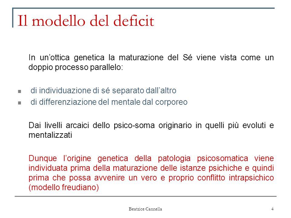 Il modello del deficit In un'ottica genetica la maturazione del Sé viene vista come un doppio processo parallelo: