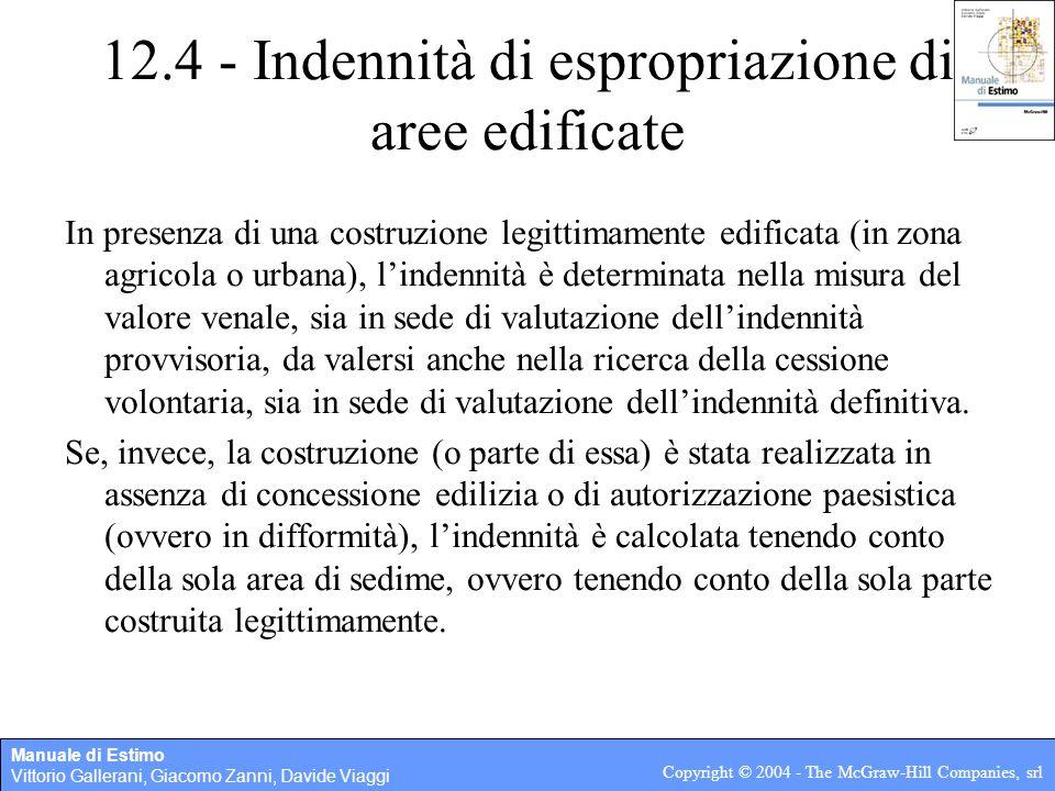 12.4 - Indennità di espropriazione di aree edificate