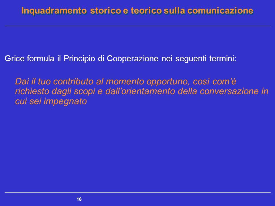 Grice formula il Principio di Cooperazione nei seguenti termini:
