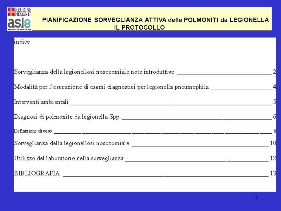 PIANIFICAZIONE SORVEGLIANZA ATTIVA delle POLMONITI da LEGIONELLA
