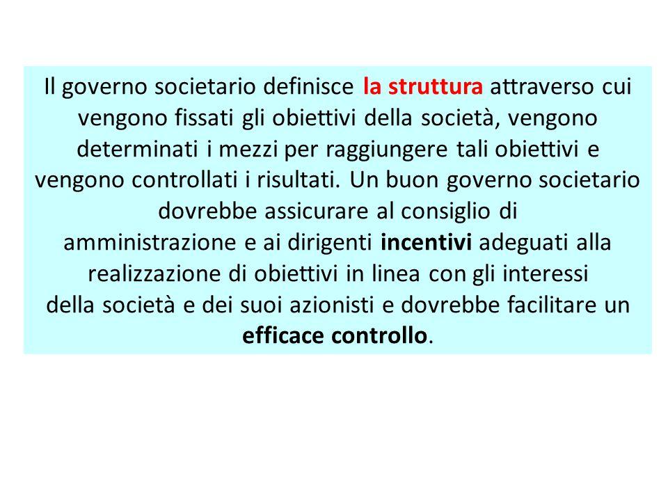Il governo societario definisce la struttura attraverso cui vengono fissati gli obiettivi della società, vengono determinati i mezzi per raggiungere tali obiettivi e
