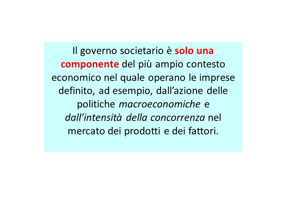Il governo societario è solo una componente del più ampio contesto economico nel quale operano le imprese definito, ad esempio, dall'azione delle politiche macroeconomiche e dall'intensità della concorrenza nel mercato dei prodotti e dei fattori.