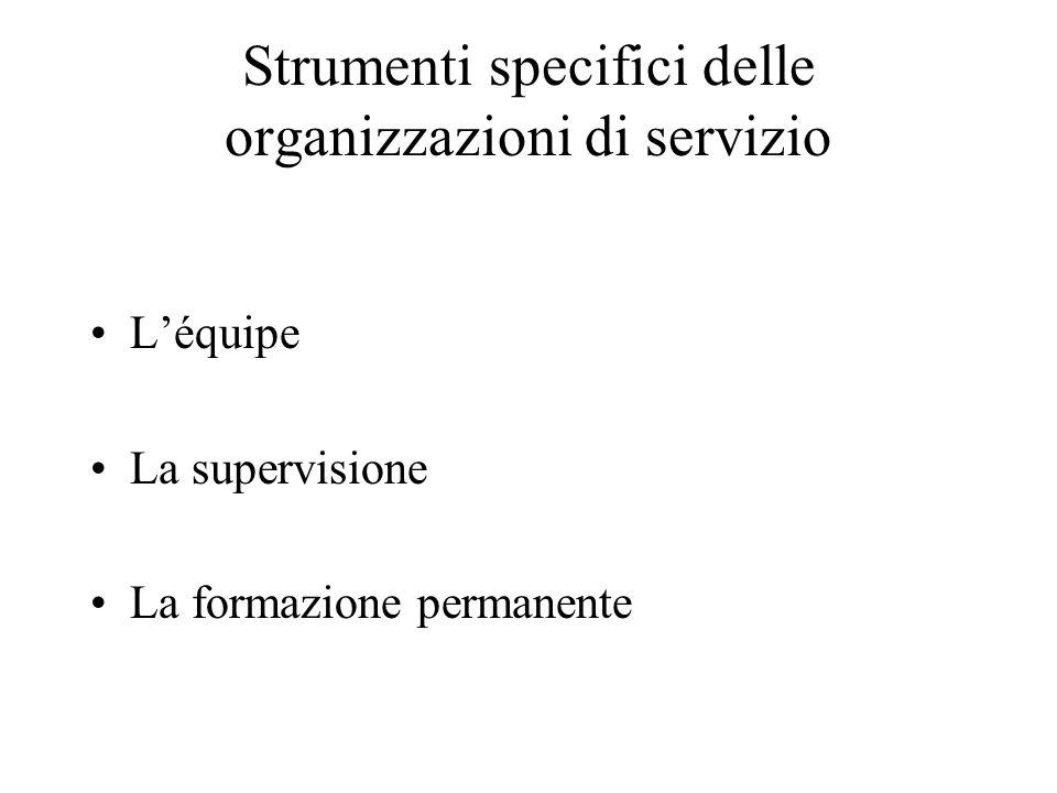 Strumenti specifici delle organizzazioni di servizio