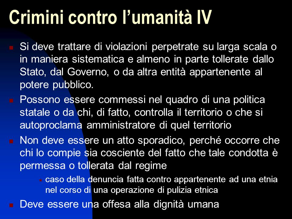 Crimini contro l'umanità IV