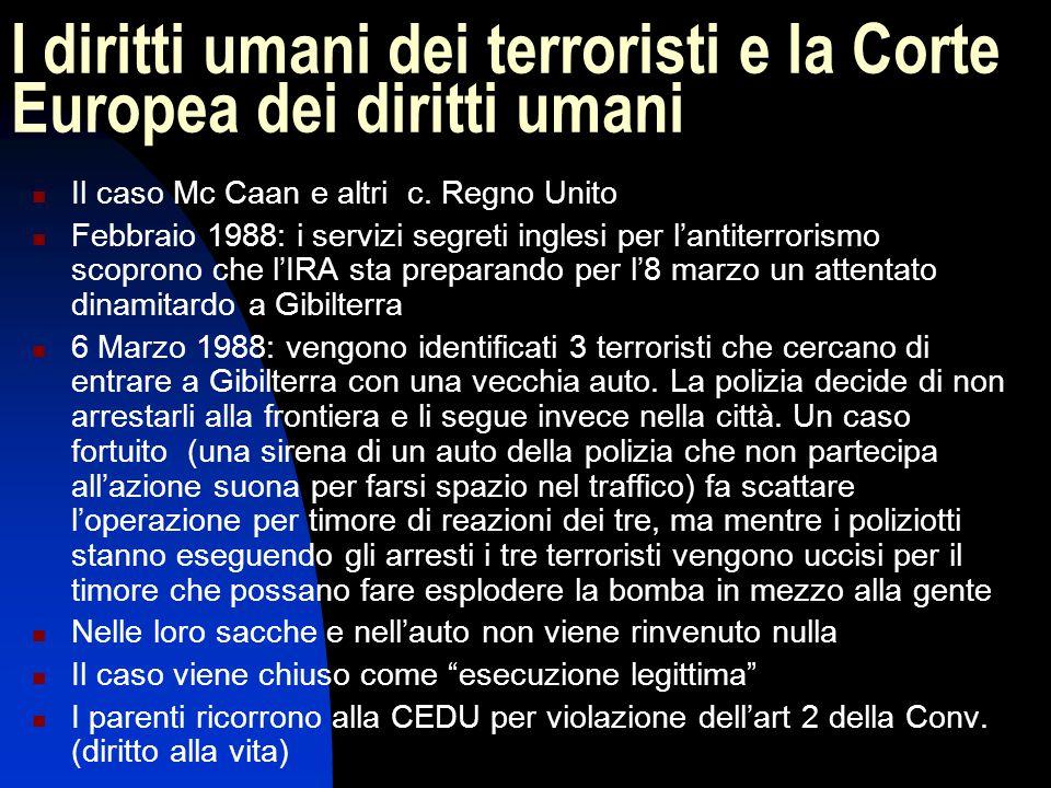 I diritti umani dei terroristi e la Corte Europea dei diritti umani